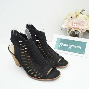 Paul Green Rosa Woven Peep Toe Sandal Black Nubuck